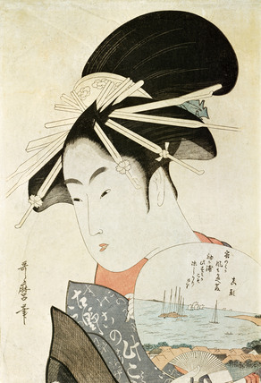 Courtesan with a fan, by Kitagawa Utamaro