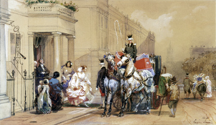 Ladies Entering Their Carriage in Belgrave Square, by Eugene Louis Lami