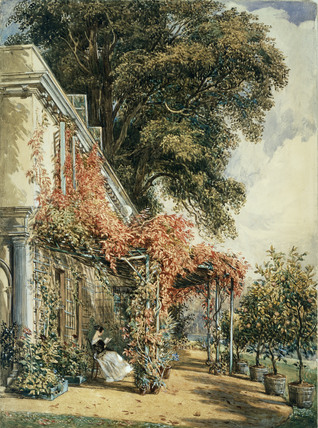 Garden in the front of Mr Robert Vernon's House at Twickenham, by J.J.Chalon