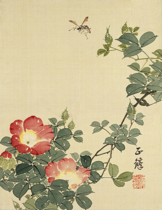 Wasp, Red Flower and Foliage, by Seiho