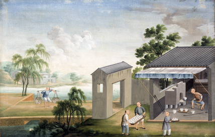 Landscape painting depicting men working