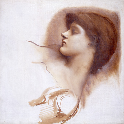 Study for head of musical attendant from Rose Bower series (Sleeping Beauty), by Sir Edward Burne-Jones