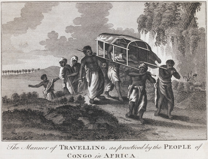 The Manner of Travelling as practiced by the people of Congo in Africa, by Theodoro de Bry