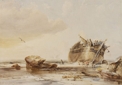 Rocky Shore with Dismantled Vessel, by George Chambers