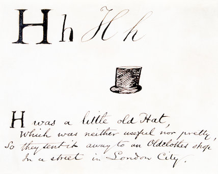 The letter H, by Edward Lear