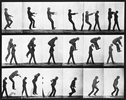 Leapfroging men, photo Eadweard Muybridge