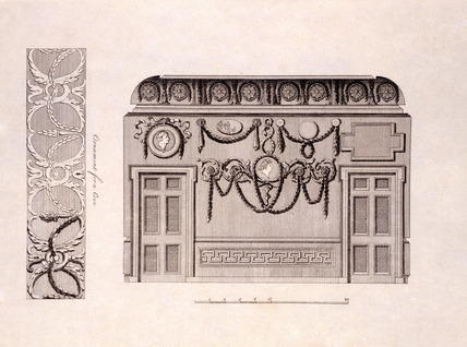 Section of a room with Greek ornaments