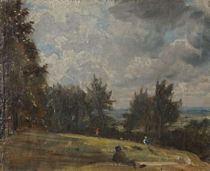 A View at Hampstead with Trees and Figures, by john Constable