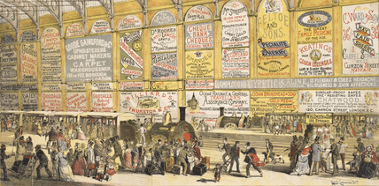 Modern Advertising, A Railway Station in 1874, by H. Sampson