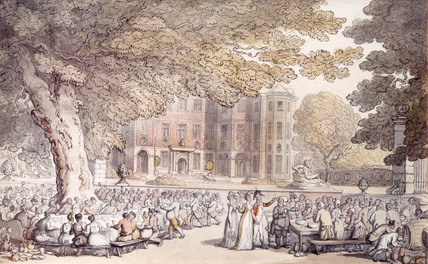 A Party in the Grounds of Ham House, by Thomas Rowlandson