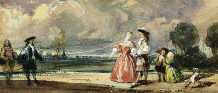 Figures Meeting on a Terrace, by R.P.Bonington