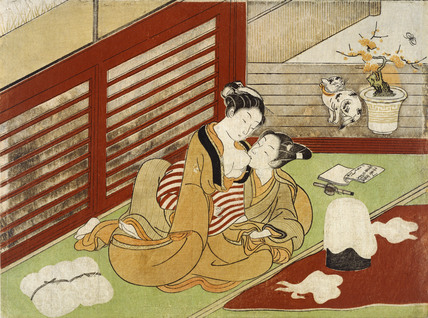 Love Interupts The Making of Silk, by Isoda Koryusai