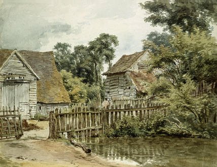 Farmyard with Pool, by William Henry Hunt