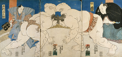 Triptych of Two Sumo Wrestlers & Umpire, by Utagawa Kunisada