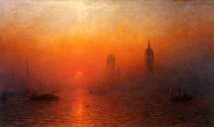 Houses of Parliament from the river, by James Francis Danby