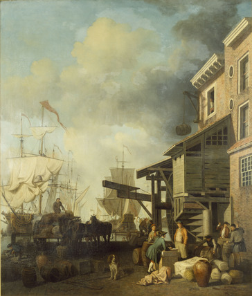 The Thames side quay, by Samuel Scott