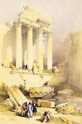 Temple of Bacchus, Baalbec, by David Roberts