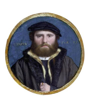 Portrait of man with hat, by Hans Holbein