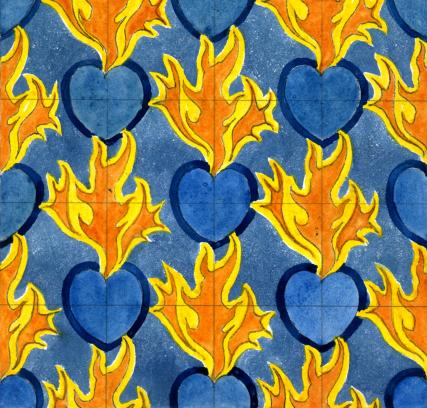 Flaming Heart Wallpaper, by C.F.A. Voysey