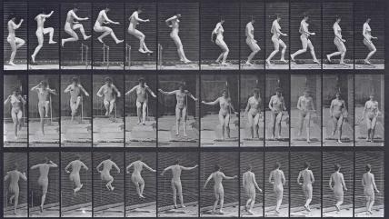 Woman jumping a hurdle, photo Eadweard Muybridge