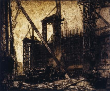The building of the V&A Museum, by Sir Frank Brangwyn