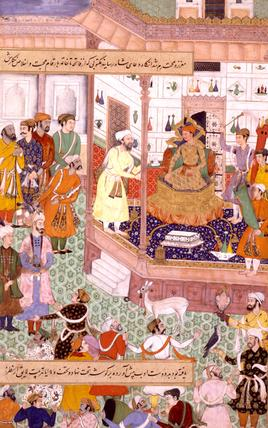 Akbar receives the Iranian ambassador Sayyid Beg in 1562, by Nand
