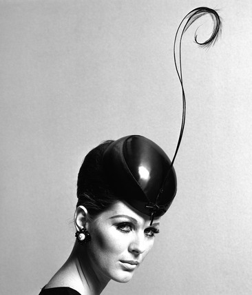 Pillbox hat with feather