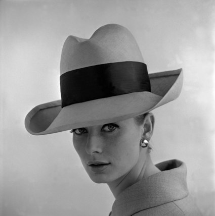 Tania Mallet in rimmed hat with sash