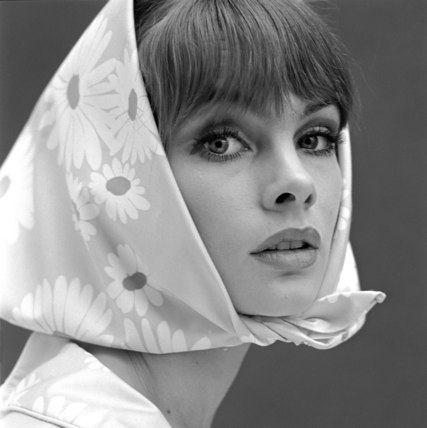 Jean Shrimpton with kerchief