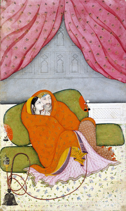 Raja Bhup Singh of Guler with a lady under a quilt