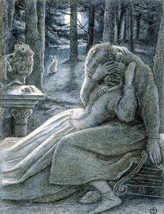 Love, a couple in a wood, by John Everett Millais