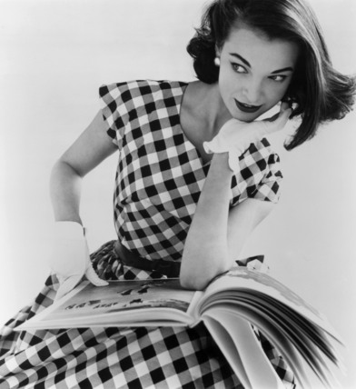 Helen Bunney modelling a checked cotton dress