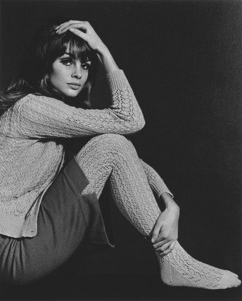 Jean Shrimpton wearing a jumper