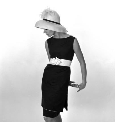 Black dress with white belt