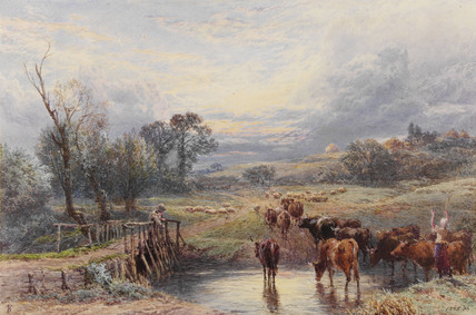 Landscape with sunset & cattle at a pond, by Myles Birket Foster