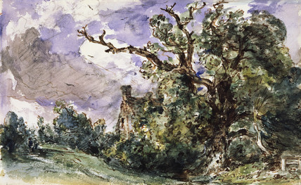 A cottage by a wood at Findon, by John Constable