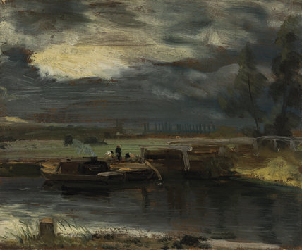 Barges on The Stour with Dedham Church in the Distance, by John Constable