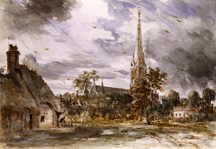 Salisbury Cathedral with cottages, by John Constable