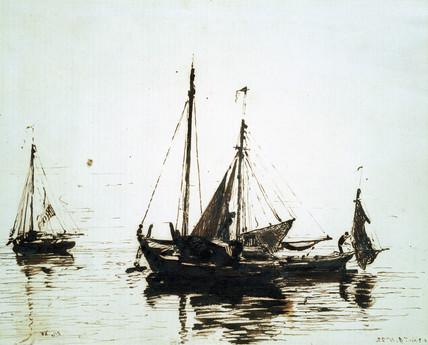 Fishing boats at anchor, by John Constable