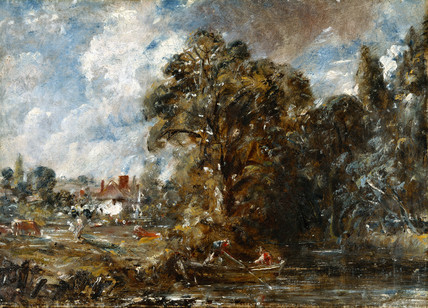 A river scene with farmhouse near the water's edge, by John Constable