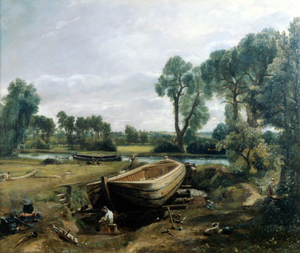 Boat building near Flatford Mill, by John Constable
