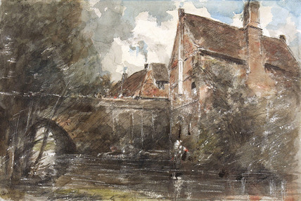 Old Houses at Harnham Bridge, by John Constable