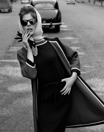 Model in Black Dress and Jacket
