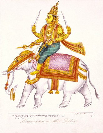 Indra, god of storms, riding on an elephant