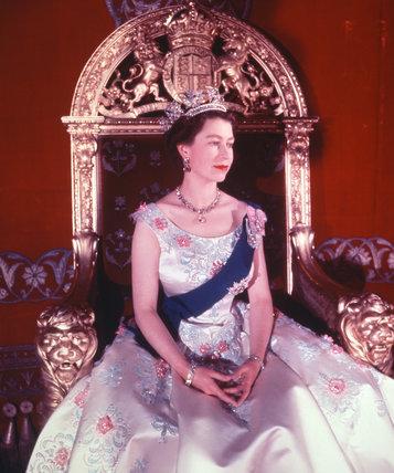 Queen Elizabeth II enthroned at Buckingham Palace