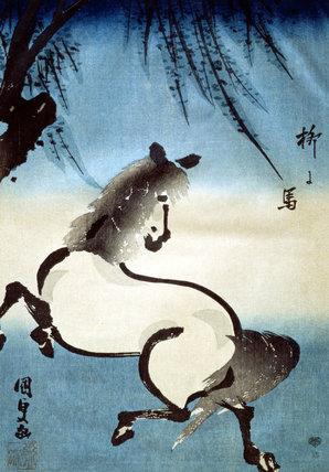 A Horse Galloping Under a Willow Tree, by Utagawa Kunisada