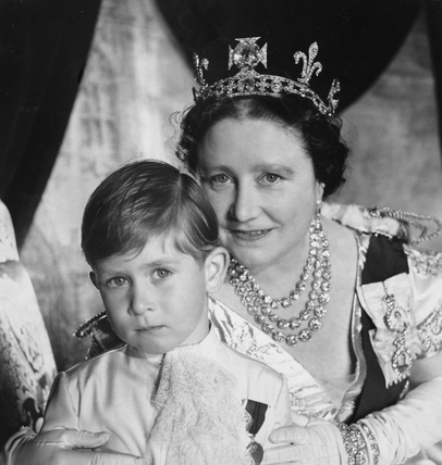 Queen Elizabeth, The Queen Mother, with Prince Charles