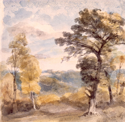 Landscape with Trees and a Distant Mansion, by John Constable