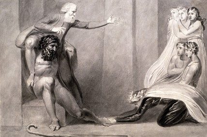 Tiriel, upheld on the shoulders of Ijim, addresses his gaughters, by William Blake