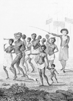 Group of Negroes, as imported to  be sold for slaves, by William Blake